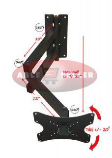 LONG ARM ARTICULATING CORNER TILT ARM SWIVEL LCD LED TV WALL MOUNT 32