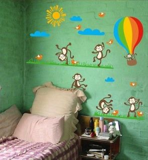 Dancing Monkey Hot Air Balloon Wall Sticker Nursery Kids Room Decor