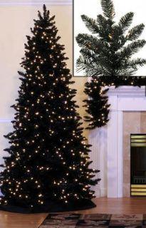 Slim Black Ashley Spruce 7.5 Pre Lit Artificial Christmas Tree