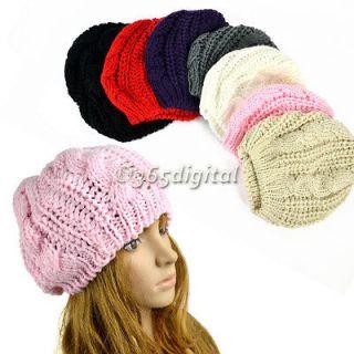Winter Warm Women Beret Braided Baggy Beanie Crochet Hat Ski Cap 35DI