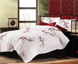 Asian Cherry Blossom Style King Size Comforter & Pillow Shams Bedding