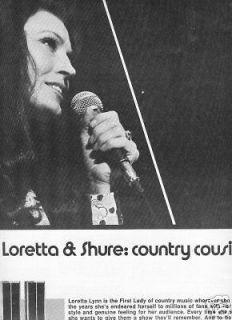 LORETTA LYNN & Shure 1976 POSTER AD Country Cousins
