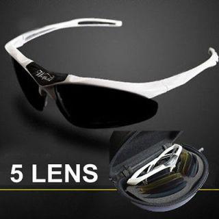Bicycle Bike UV400 Sports Sun Glasses Eyewear Goggle 5 Len White