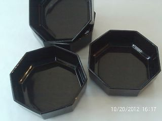 Retro Classic   Octime Black Glass bowls x4 by Arcopal (France)   Mint