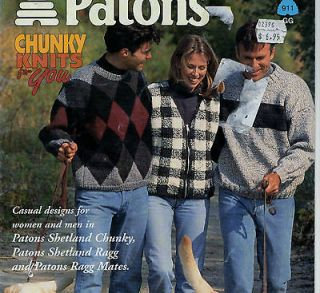 Knitting Pattern Patons Womens Mens Argyle Vest Navajo Jacket Sweater