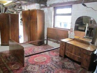 Art Deco Burr Walnut Bedroom Set. Bed, Dressing Table & Large / Small