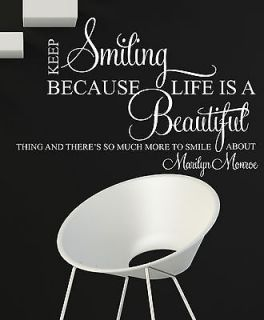 SMILING SMILE MARILYN MONROE WALL ART QUOTE DECAL STICKER MURAL VINYL