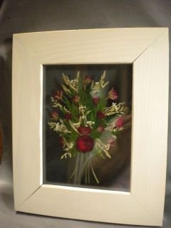 Framed picture   Red dried flower arrangement in glass