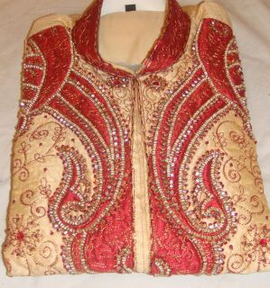 cream n Red Silk Sherwani Exclusive Mens Kurta Salwar Kameez Indian
