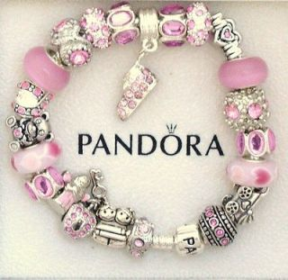 New Authentic Pandora Charm Bracelet S Silver Mom Push Pink Baby Angel