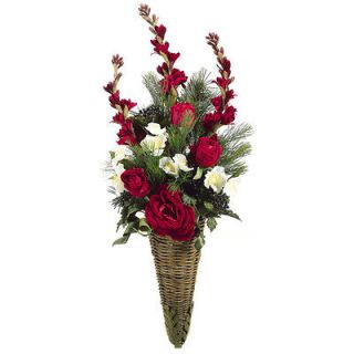 31 Rose Holiday Silk Flower Arrangement w/Hanging Cone  Red (case of