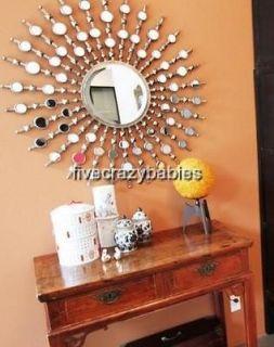 Art Deco 39 Modern Silver Sunburst Starburst Wall Mirror XL Oversize