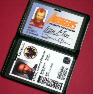 AVENGERS ASSEMBLE IRONMAN AVENGERS TONY STARK SHIELD ID CARD BADGES
