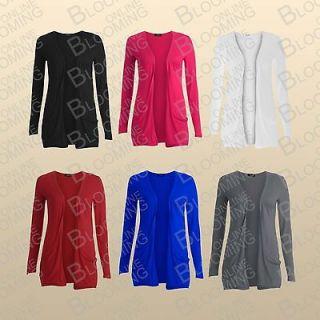 Ladies Long Sleeves Drop Pocket Boyfriend Cardigan Open Casual Womens