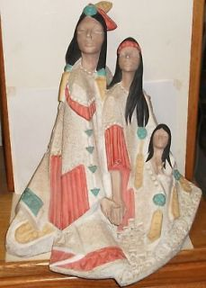 HUGE AUSTIN PROD ACOMA INDIAN FAMILY SCULPTURE 1990