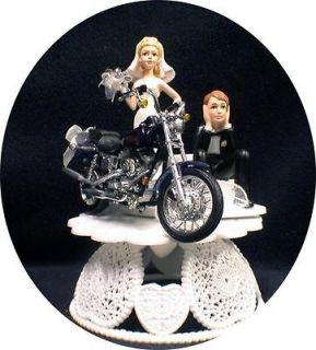 Wedding Cake Topper w/die cast Harley Davidson Motorcycle Black Dyno