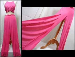 Novikov Paris 1960s Style Hot Pink Ruched Halter Palazzo Cut Out