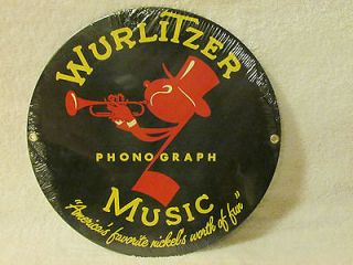 Vintage Ande Rooney Wurlitzer Phonograph Sign Big Band Swing Juke Box