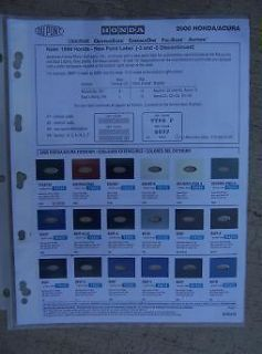 Acura Auto Color Paint Chip Sample Chart DuPont Exterior Two Tone J