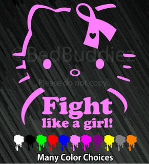 Breast Cancer Ribbon Vinyl Car Decal Sticker Bow Fight Like a Girl