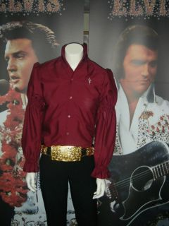 Elvis Presley Wine Satin/Polycott on Puffy Shirt (not jumpsuit)