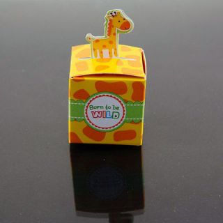12 Giraffe Born To Be Wild Jungle Baby shower Favor Boxes Party