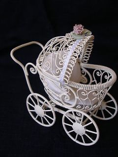 DOLLHOUSE MINIATURE PRAM   BABY CARRIAGE FOR DOLL NURSERY  ANTIQUE