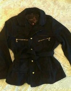 NWT BABY PHAT DESIGNER COLLECTION BLACK Wool Coat Belted Button, PLUS