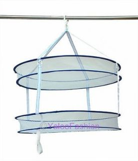 Double Hanging Sweater Drying Rack Folding Mesh Hanging Clothes Dryer