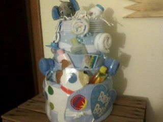 Tier Baby Diaper Cake for a Boy Handcrafted Baby Shower Gift