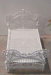 Newly listed Dollhouse Miniature White Wire Wicker Bed