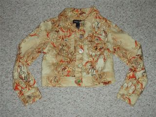 Girls Baby Phat Girlz Stretch Denim Jean Jacket Coat S Small Cream