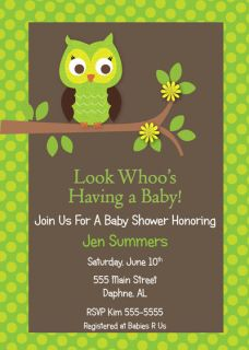 GREEN OWL NEUTRAL BOY BABY SHOWER INVITATION BIRTHDAY ANNIVERSARY