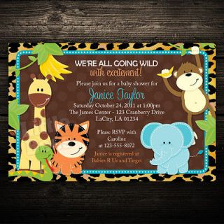 Jungle Safari Animals Printable Baby Shower or Birthday Invitation