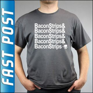 Epic Meal Time Bacon Strips Charcoal Grey T Shirt *NEW*