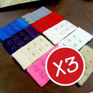 A0633 42 x 3Pcs Bra Extenders Strap Extension 2 Hooks 10 Colors UPICK