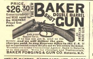 1890 ad f baker double barrel shotgun batavia