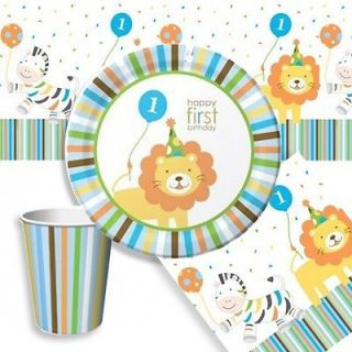 Stylish Baby Boys 1st First Birthday Party Plates Cups Napkins
