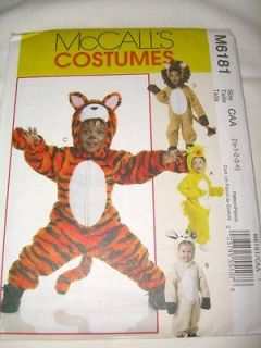 Lion Tiger Costume Pattern McCalls 6181 Chick Bunny 6m 4 Baby Toddler