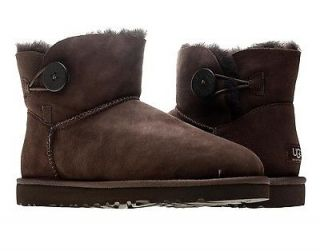 UGG Australia Mini Bailey Button Chocolate Womens Winter Boots 3352
