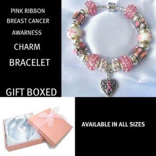 LADIES MUM/MOTHER PINK RIBBON BREAST CANCER AWARNESS CHARM BRACELET