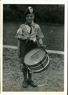 VTG PHOTO DRUMMER BOY Marching Band Uniform S nare Drum Tassels I