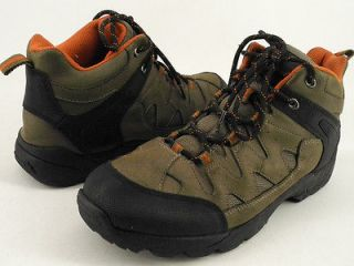 Mens boots dark brown leather fabric Ozark Trail 12 M hiking trekking