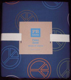 NEW Pottery Barn pb Teen Navy Blue Peace Duvet Cover Twin 5%