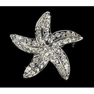 Crystal Starfish Brooch Beach Hair Comb Wedding Bridal Hair
