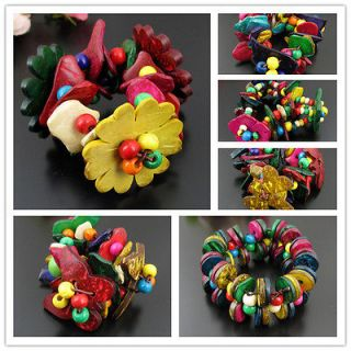 Coconut Shell Flower Hawaii Fashional Stretch Bracelet Bangle CG