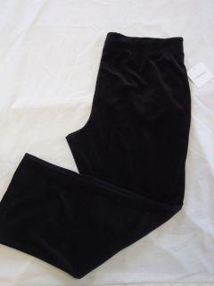 New CROFT & BARROW Black Velour Pants Elastic Waist 1X, 2X, 3X msrp