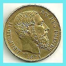 BELGIUM   1874  GOLD COIN 20FRANCS. UNCIRCULATED
