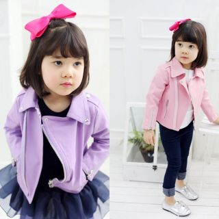 Boutique Full Lined Pink / Purple Biker Faux Leather Jacket W/ Studs