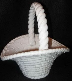 WHITE CERAMIC POTTERY BASKET PLANTER BASKET WEAVE HANDLED BASKET